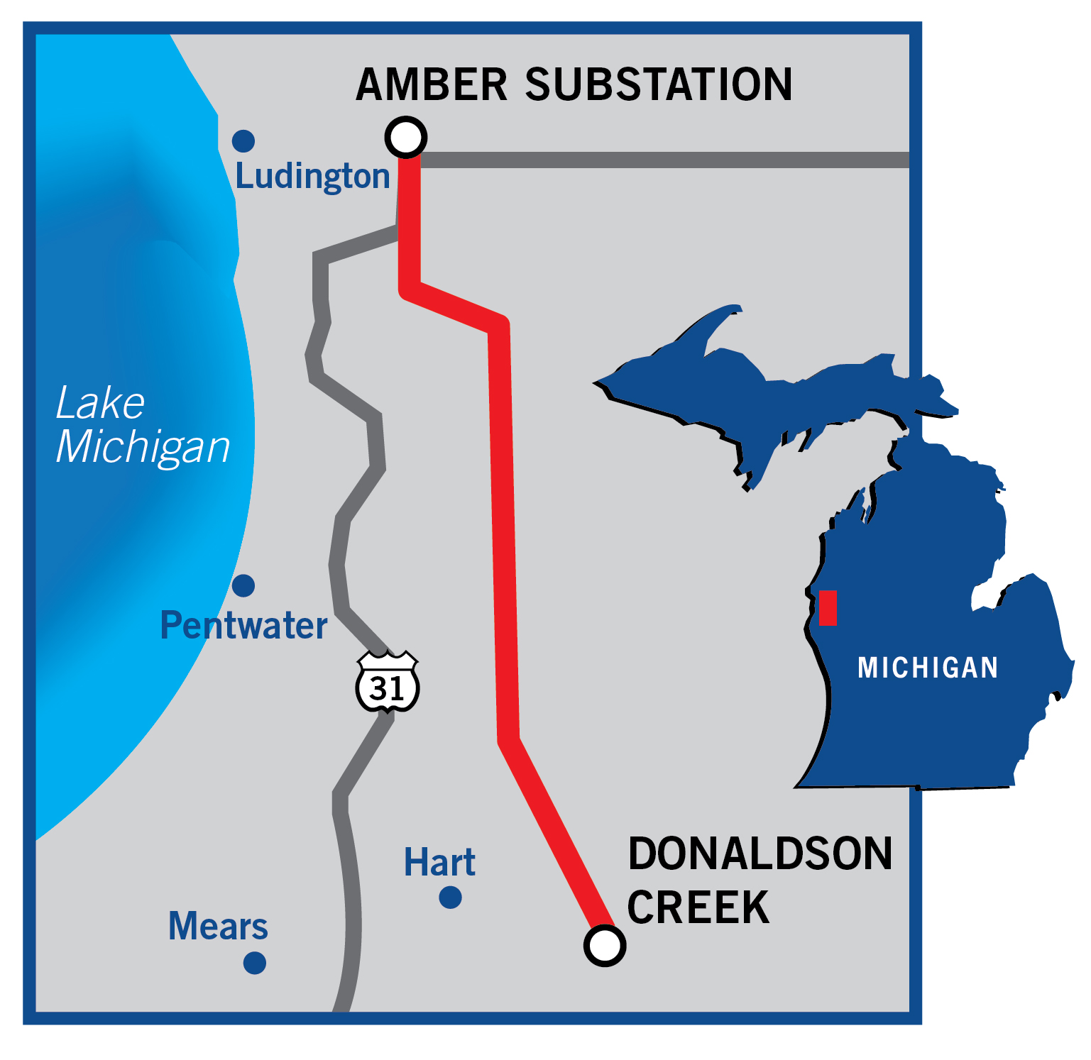 Map of the Amber Donaldson Creek line rebuild